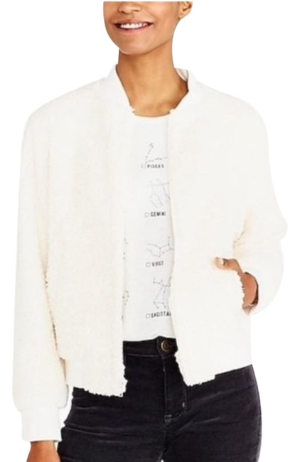Item - White Sherpa Bomber Small Jacket Size 4 (S)