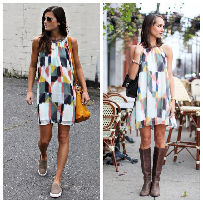 Item - Multicolor Geometric Short Casual Dress Size 6 (S)
