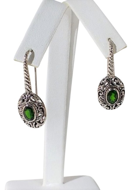 Item - Green Chrome Diopside Sterling Silver Earrings