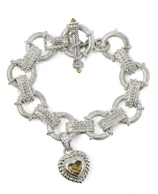 Item - Silver Sterling Citrine and Cz Heart Charm Toggle Bracelet