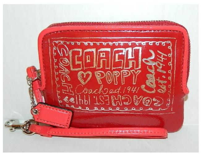 Item - Never Used Poppy Red Zip Wallet Light/Dark Red-silver Genuine Patent Leather Wristlet