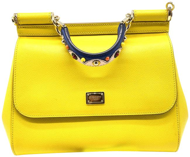 Item - Dauphine Sicily Handbag In with A Embroidery Handle Yellow Leather Cross Body Bag