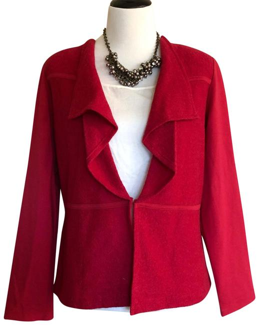 Item - Red Boiled Wool Mix Jacket Size 8 (M)