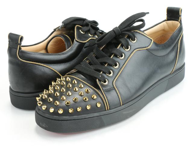 Item - Black/Gold Junior Zip Leather Sneakers Shoes