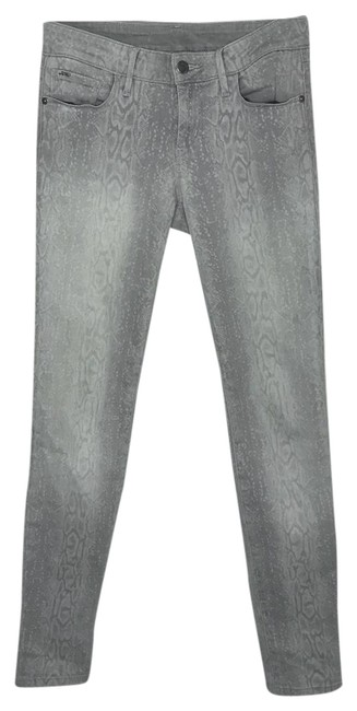 Item - Gray Light Wash Chelsea Ankle Cropped Python Snake Print Skinny Jeans Size 25 (2, XS)