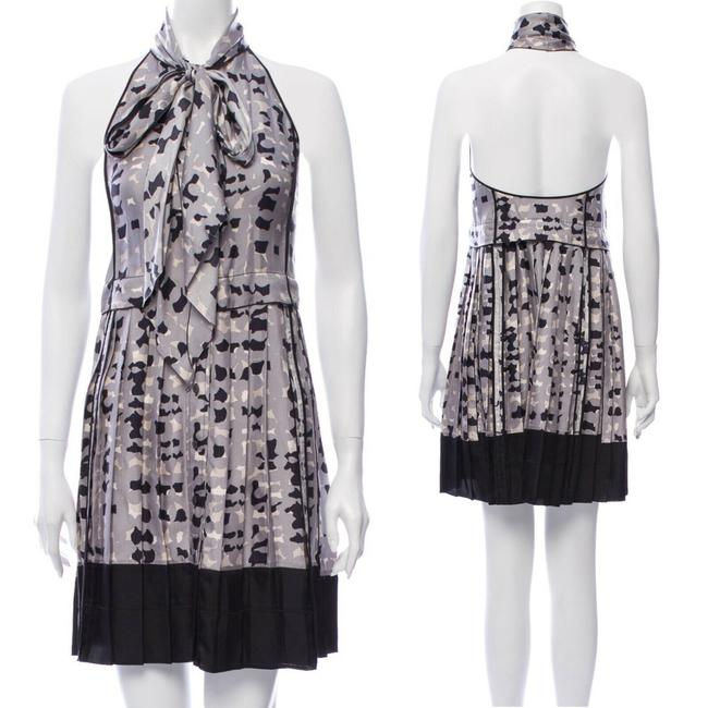 Item - Silk Pussy Bow Pleated Printed A-line Halter Short Cocktail Dress Size 10 (M)