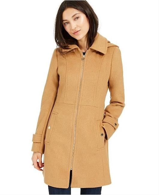 Item - Camel New Zip Front Wool Blend Hooded Coat Size 6 (S)