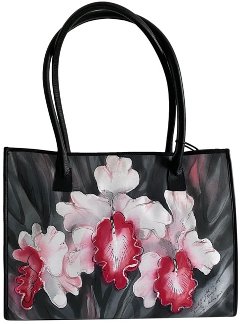 Item - Hand Painted Black Leather Tote