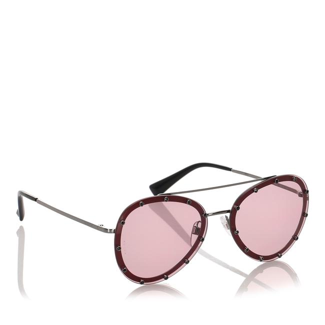 Item - Red Metal Crystal Embellished Aviator Sunglasses