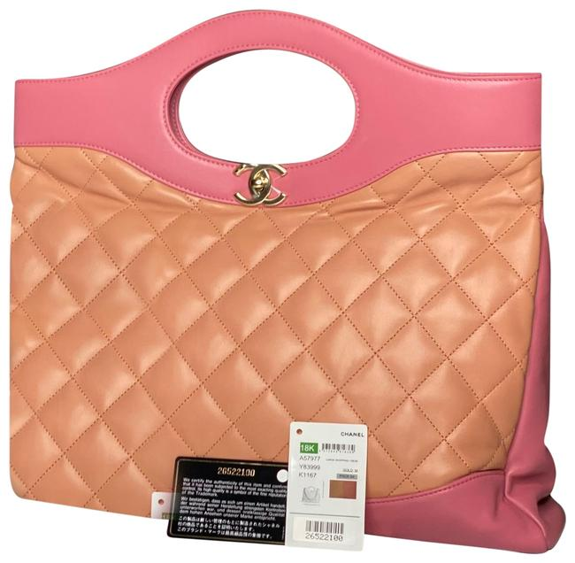 Item - Shoulder Bag 31 Quilted Shopping Tote/Shoulder Pink and Orange Lambskin Leather Tote