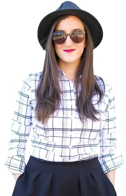 Item - White Black & Plaid Shirt Button-down Top Size 2 (XS)