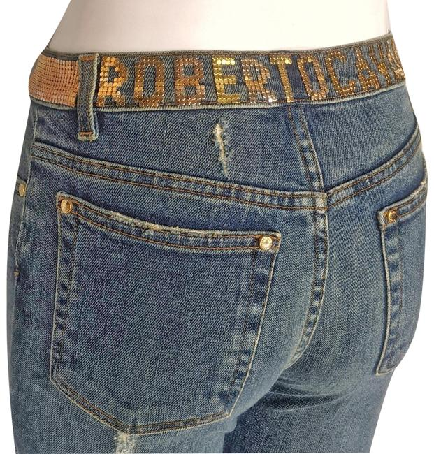 Item - Blue Distressed Embellished Waist Stretch Boot Cut Jeans Size 26 (2, XS)