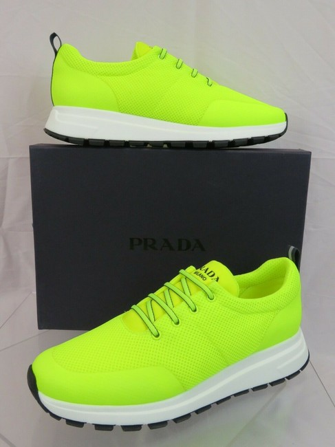 Item - Yellow 4e3499 Neon Sport Mesh White Logo Lace Up Sneakers 7 / Us 8 Shoes