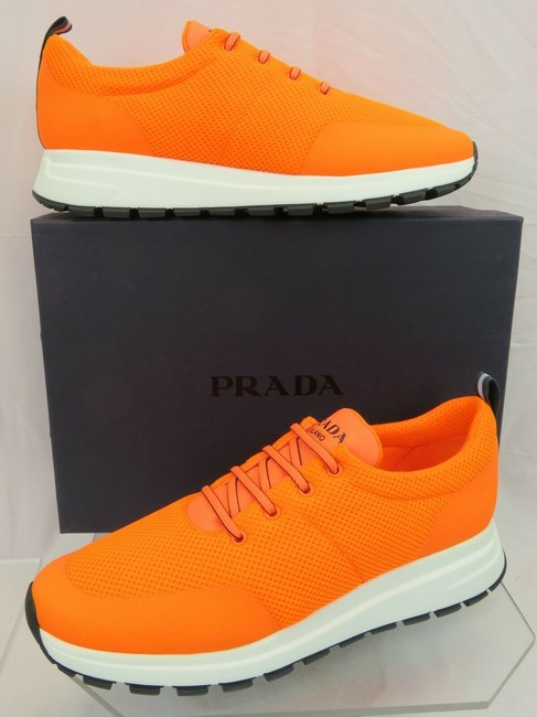 Item - Orange 4e3499 Neon Sport Mesh White Logo Lace Up Sneakers 9 / Us 10 Shoes