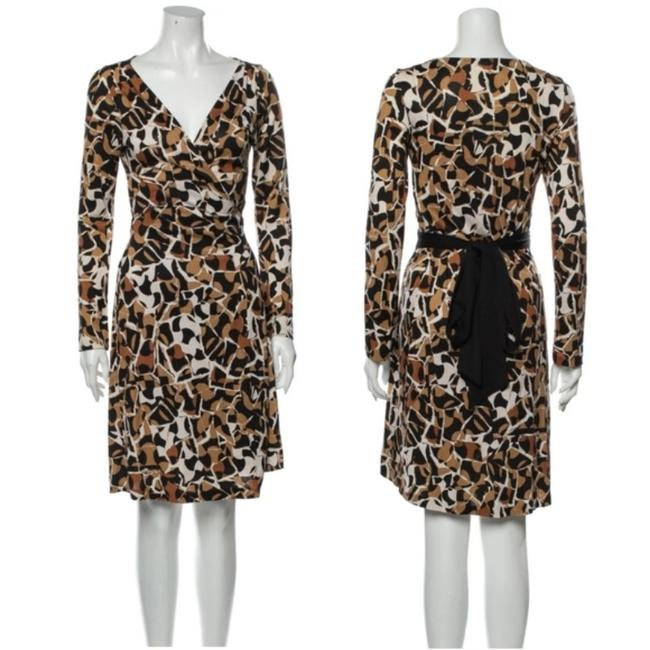 Item - Brown Classic Wrap Leopard Print Mid-length Work/Office Dress Size 8 (M)