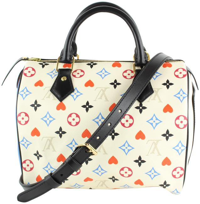 Item - Speedy Poker Game On Multicolor Bandouliere 25 Strap 3lvs129 White Coated Canvas Baguette