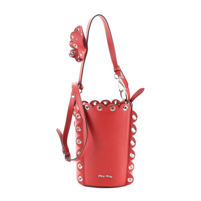 Item - Bucket Top Handle Vitello Soft with Grommet Detail Small Red Leather Shoulder Bag