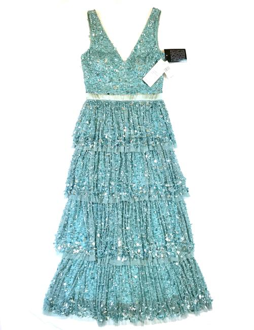 Item - Turquoise Sequined Tiered Tulle Gown Long Formal Dress Size 6 (S)