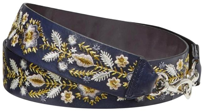 Item - Metallic Embroidery Floral Guitar Strap Moon Multi- Navy Genuine Leather Shoulder Bag