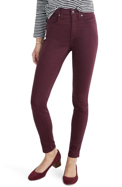Item - Burgundy/Maroon/Dark Plum Medium Wash High-rise Sateen Skinny Jeans Size 24 (0, XS)