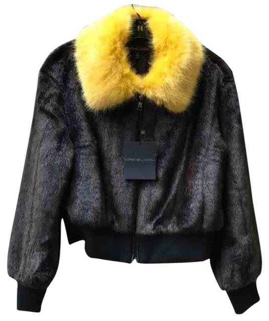 Item - Brown/Yellow Cropped Faux Mink Fur Bomber Jacket Size 8 (M)