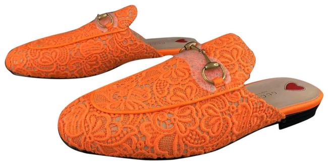 Item - Neon Orange Horsebit Princetown Floral Lace Loafers Fluorescent Flats Size EU 38 (Approx. US 8) Regular (M, B)