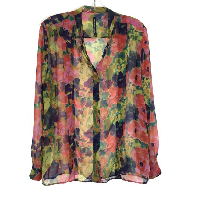Item - Multicolor Floral Printed Chiffon Willie Blouse Size 6 (S)