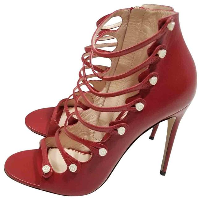 Item - Red Malaga Kid Habiscus Leather Sandal Heel Open Toe Boots/Booties Size US 9.5 Regular (M, B)