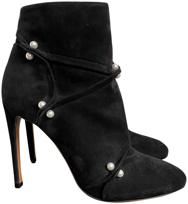 Item - Black Azzedine Suede Pearl Pierced Embellished Ankle Boots/Booties Size EU 37 (Approx. US 7) Regular (M, B)