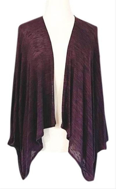 Item - Burgundy Cocoon Wrap Marled Knit Open Front Shrug Poncho/Cape Size OS (one size)