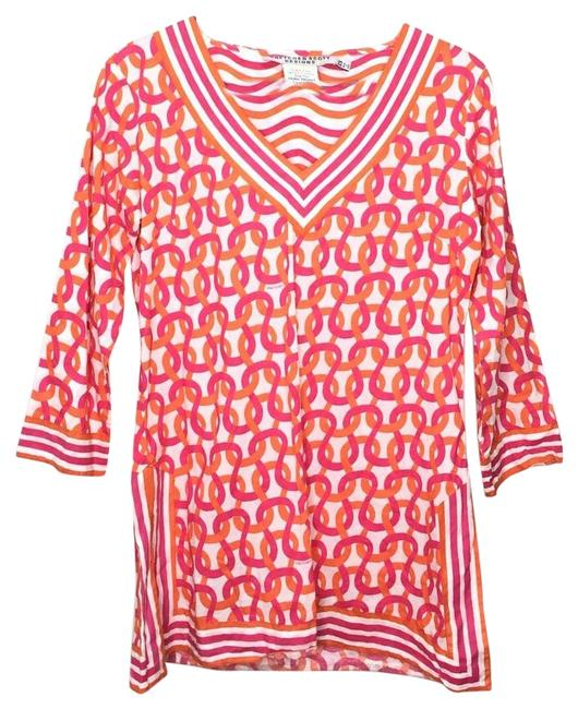 Item - Pink XS Orange Woven Knot V-neck Cover Up Women's Tunic Size 2 (XS)