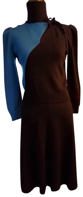 Item - Black/Blue 2pc Knit Sweater/Skirt Outfit/Dress Mid-length Short Casual Dress Size 2 (XS)