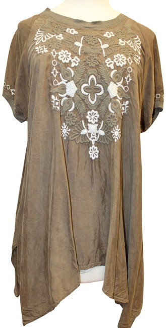 Item - Chestnut Embroidered Blouse S M Tunic Size 6 (S)