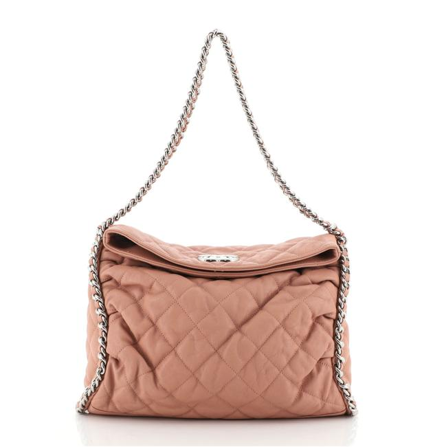 Item - Chain Around Quilted Washed Pink Lambskin Leather Hobo Bag
