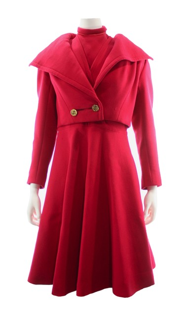 Item - Red Three Piece with Jacket + Dickie Mid-length Formal Dress Size 2 (XS)