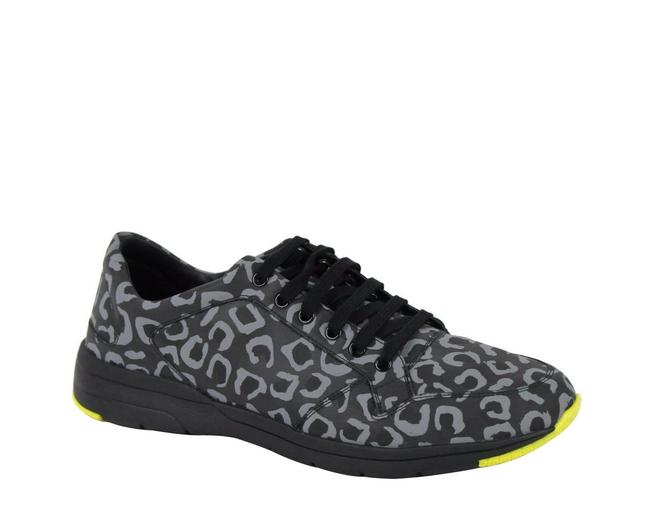 Item - Gray / Yellow Reflex Leopard Print Fabric Running Sneakers 375083 Shoes