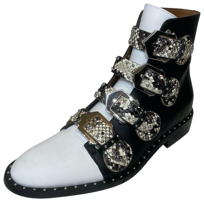 Item - Black/Grey/White Leather Python Strappy Flat Ankle Boots/Booties Size US 6.5 Regular (M, B)
