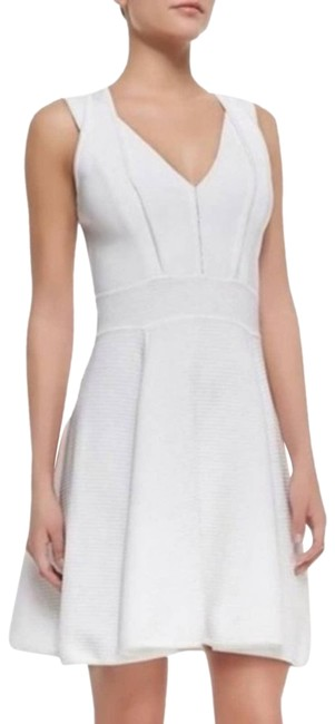 Item - White Textured Knit Fit & Flare Cutout Racer X-small Short Casual Dress Size 0 (XS)