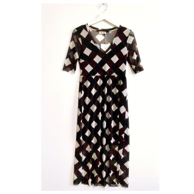 Item - Brown Blue White Janeth Midi Mid-length Short Casual Dress Size 0 (XS)