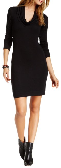 Item - Black Waffle Knit Cowl Neck Sweater Short Casual Dress Size 4 (S)