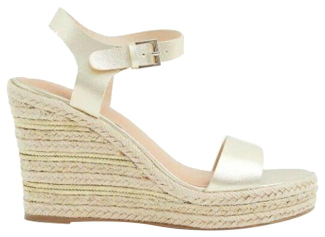 Item - Gold Faux Leather Espadrille Platform Wedge Sandals Size US 9.5 Extra Wide (Ww, Ee)