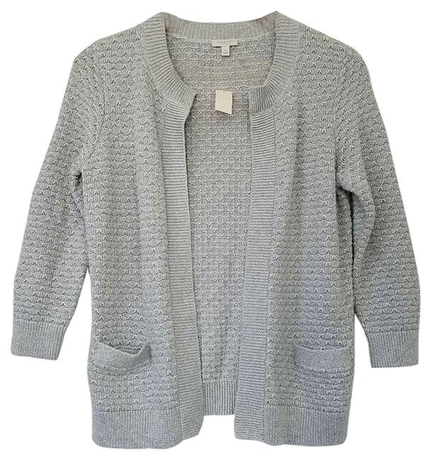 Item - Outlet Open Front Cardigan Lurex Size P Pockets Silver Sweater