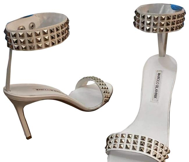Item - White/Silver W Rocco W/ Studs Leather Ankle Strap Sandals Formal Shoes Size EU 39.5 (Approx. US 9.5) Regular (M, B)