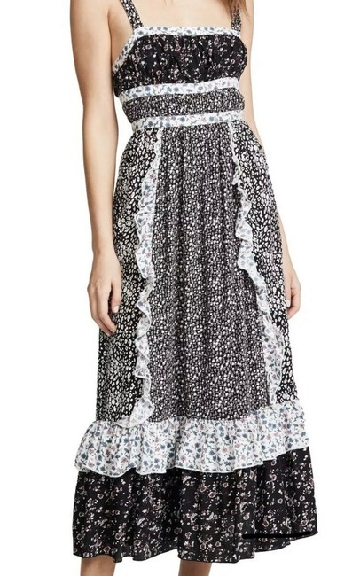 Item - Black/White Yesica Ditsy Floral Long Casual Maxi Dress Size 12 (L)