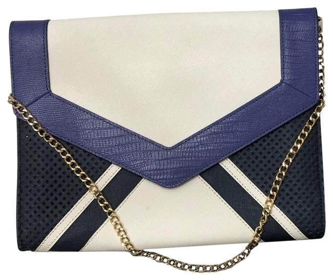 Item - With Chain White/Navy/Purple Leather Shoulder Bag