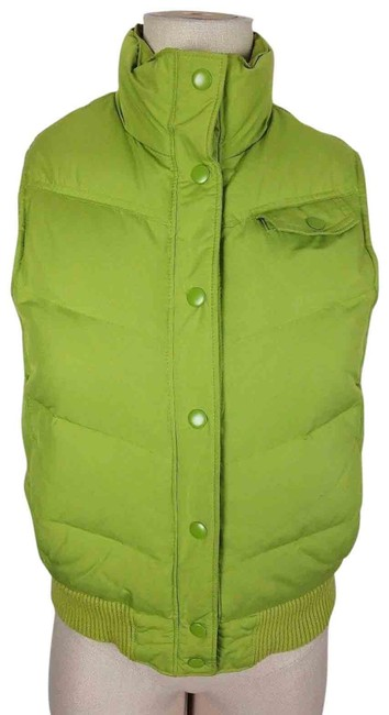 Item - Green Blue Down Womens S Snap Up Winter Puffer Knit Trim Chartreuse Lime Vest Size 8 (M)