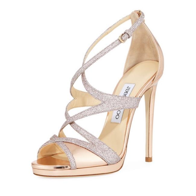 Item - Rose Gold Metallic Mirror Leather & Glitter Marianne 100 Sandal Formal Shoes Size US 7 Regular (M, B)