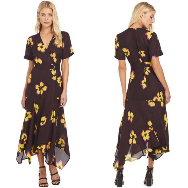 Item - Chocolate / Yellow Floral Claire Mid-length Casual Maxi Dress Size 0 (XS)