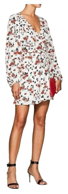 Item - White / Red Floral Carlo Short Casual Dress Size 8 (M)