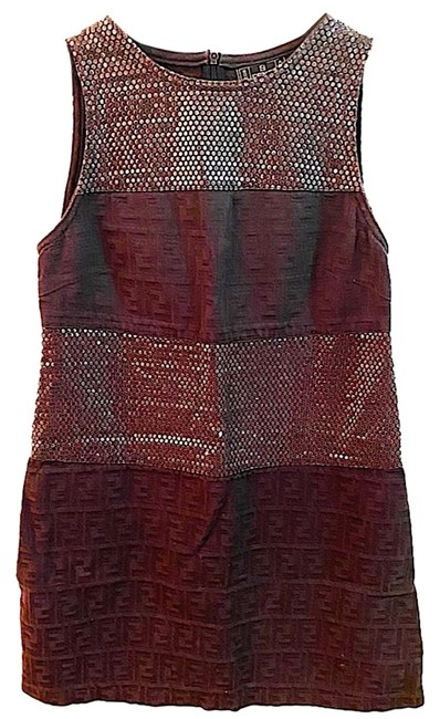 Item - Vintage Zucca Ff & Crystal Sleeveless Mid-length Night Out Dress Size 4 (S)